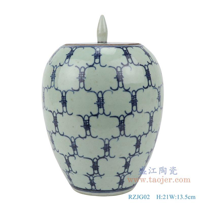 RZJG02 仿雍正青花寿字储物罐 正面图
