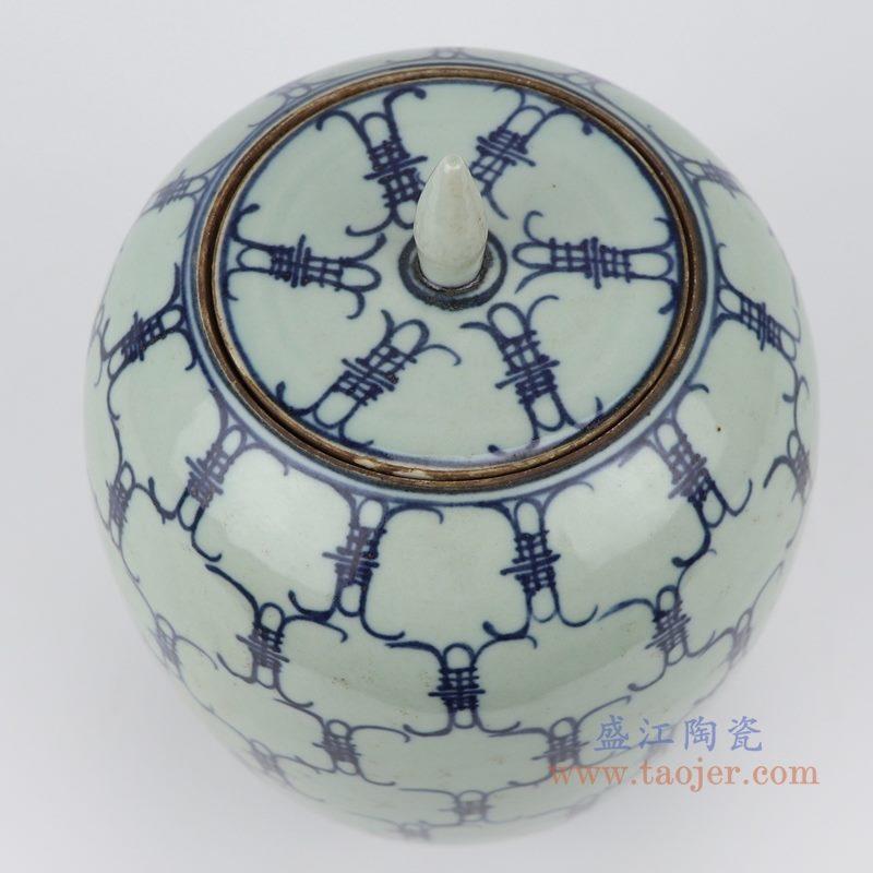RZJG02 仿雍正青花寿字储物罐 顶部图