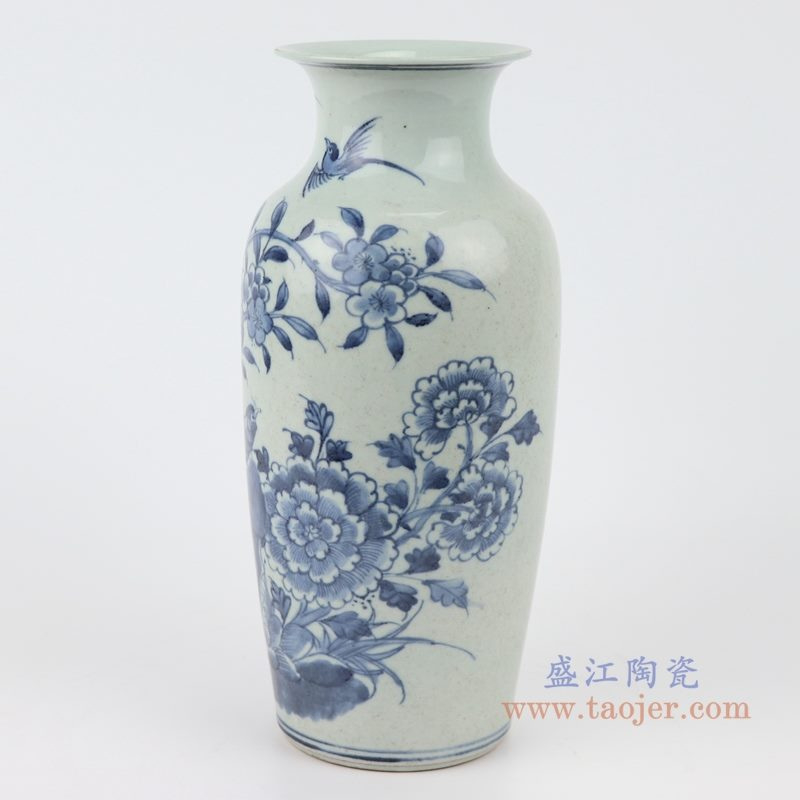 RZJG04 手绘花鸟青花陶瓷花瓶 侧面图