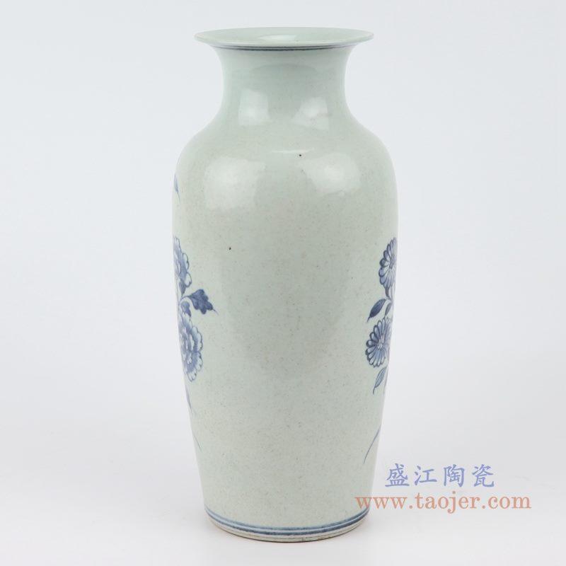 RZJG04 手绘花鸟青花陶瓷花瓶 背面图