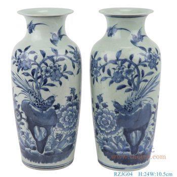 RZJG04 仿古 手绘花鸟青花陶瓷花瓶冬瓜瓶