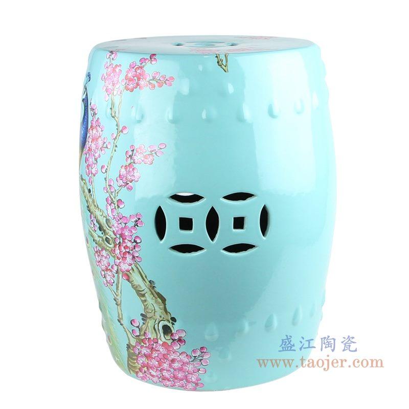 RZKL07-L 美式颜色釉陶瓷鼓凳 凉墩 背面图