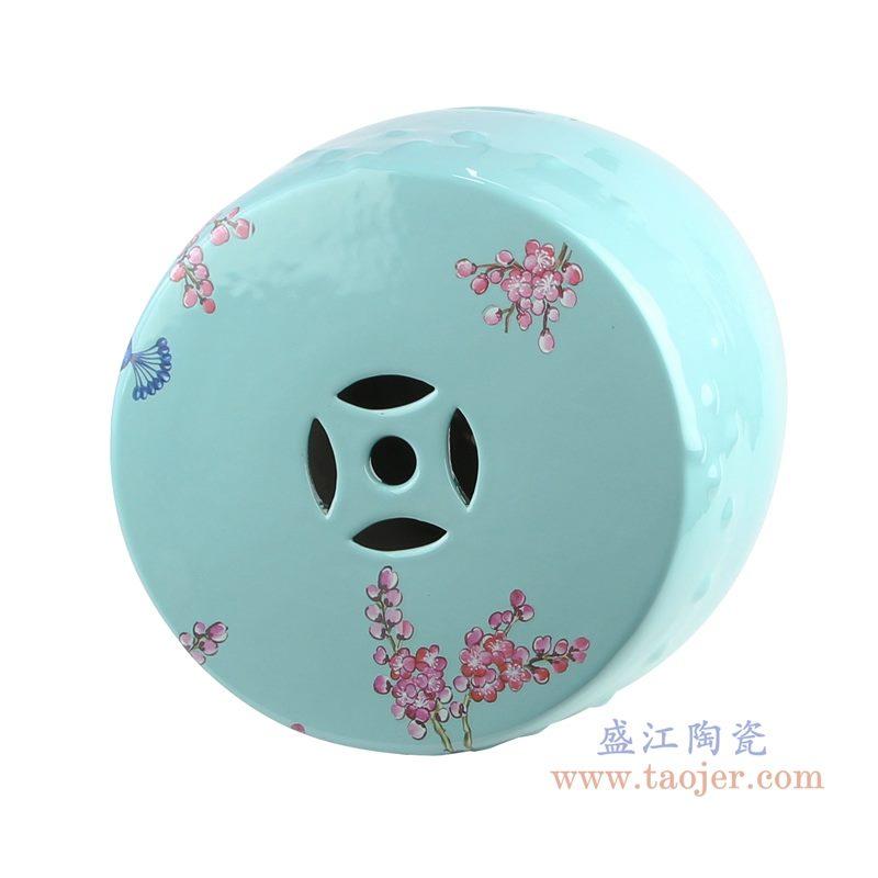 RZKL07-L 美式颜色釉陶瓷鼓凳 凉墩 顶部图
