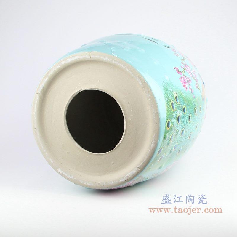 RZKL07-L 美式颜色釉陶瓷鼓凳 凉墩 底部图