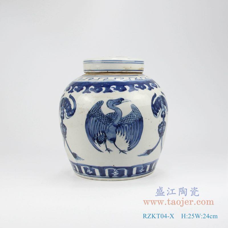 RZKT04-X手绘青花凤凰茶叶罐 正面图