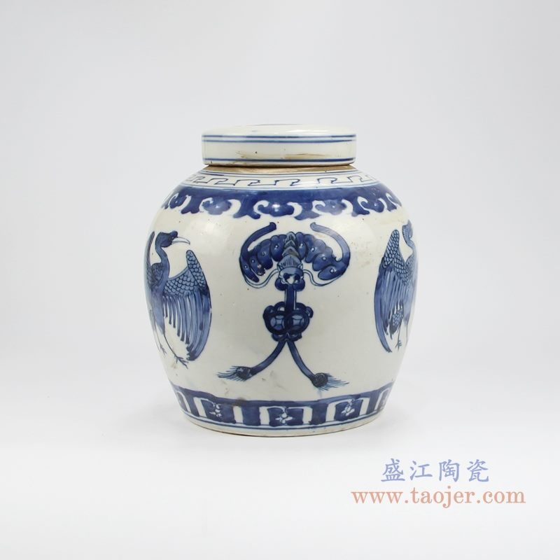 RZKT04-X手绘青花凤凰茶叶罐 背面图