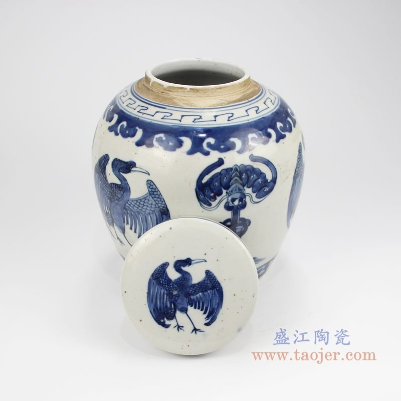 RZKT04-X手绘青花凤凰茶叶罐 盖子图