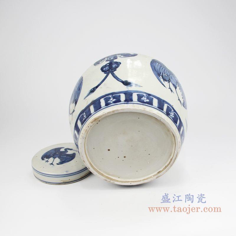 RZKT04-X手绘青花凤凰茶叶罐 底部图