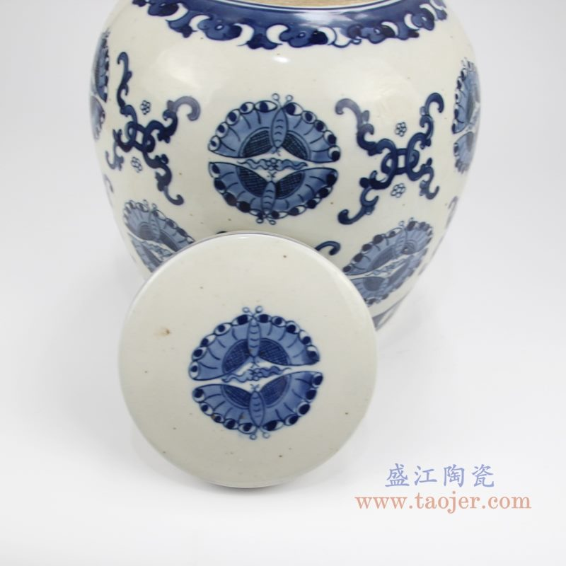 RZKT04-Y 手绘青花蝴蝶纹茶叶罐 盖子图