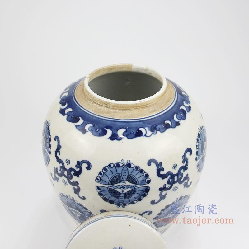 RZKT04-Y 手绘青花蝴蝶纹茶叶罐 罐口图