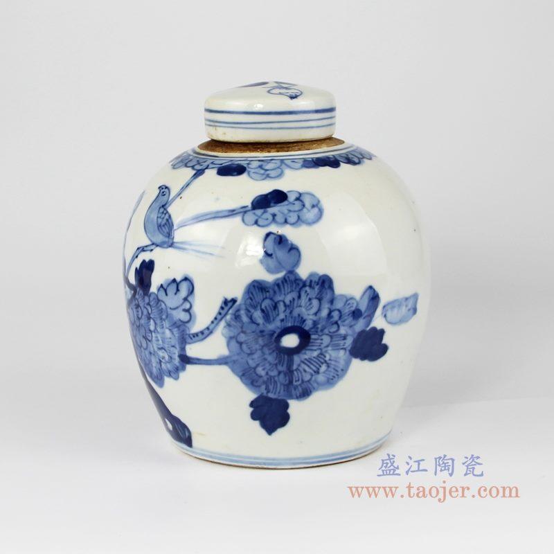 RZKT10-J  仿古 手绘青花花鸟纹茶叶罐 背面图