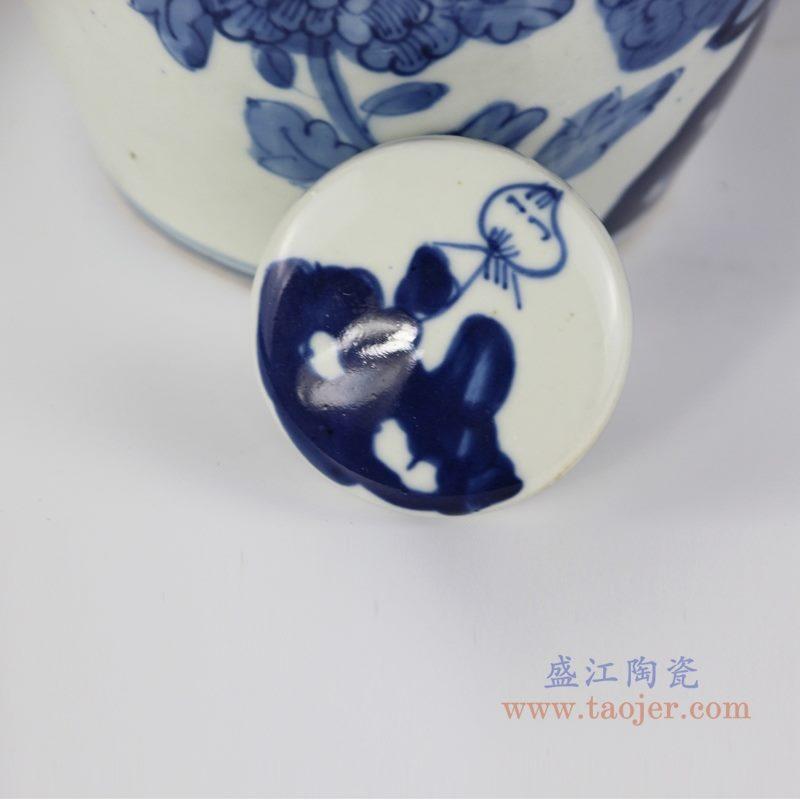 RZKT10-J  仿古 手绘青花花鸟纹茶叶罐 盖子图