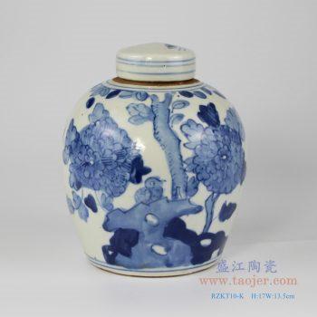 RZKT10-K 仿古 手绘青花花鸟纹茶叶罐 盖罐 小号民罐