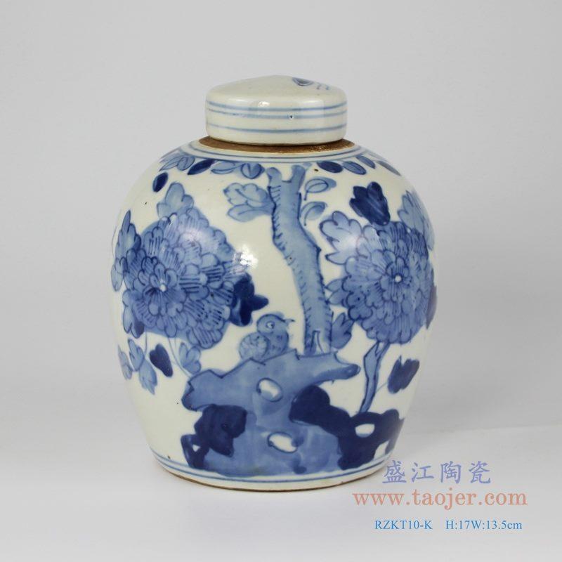 RZKT10-K 手绘青花花鸟纹茶叶罐 正面图