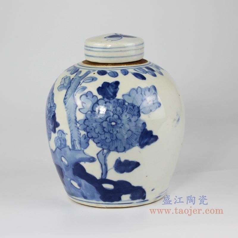 RZKT10-K 手绘青花花鸟纹茶叶罐 侧面图