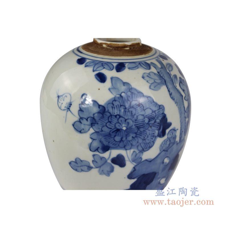 RZKT10-K 手绘青花花鸟纹茶叶罐 纹饰细节图