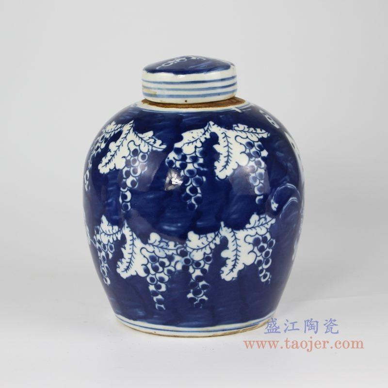RZKT10-L手绘青花蝴蝶纹茶叶罐 背面图