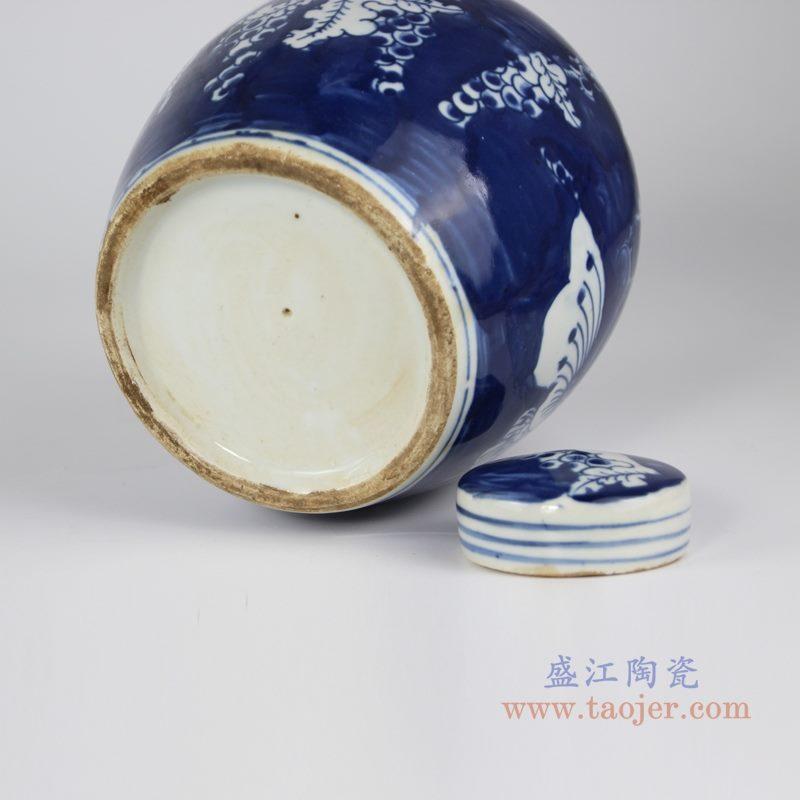 RZKT10-L手绘青花蝴蝶纹茶叶罐 底部图