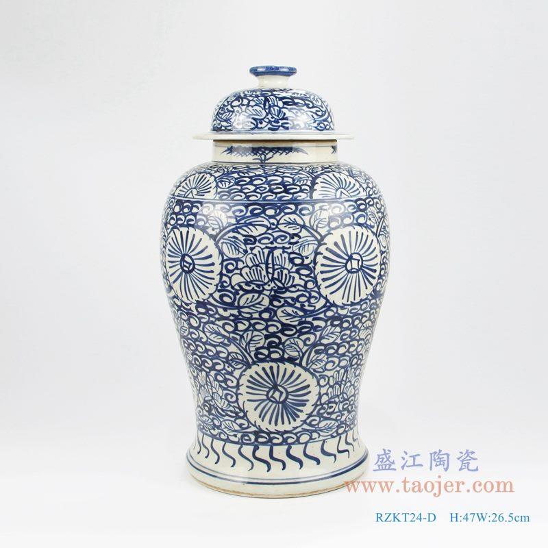 RZKT24-D手绘青花写意缠枝莲花卉将军罐 正面图