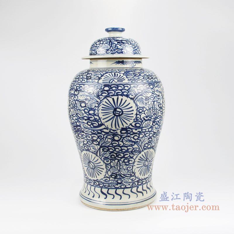 RZKT24-D手绘青花写意缠枝莲花卉将军罐 背面图