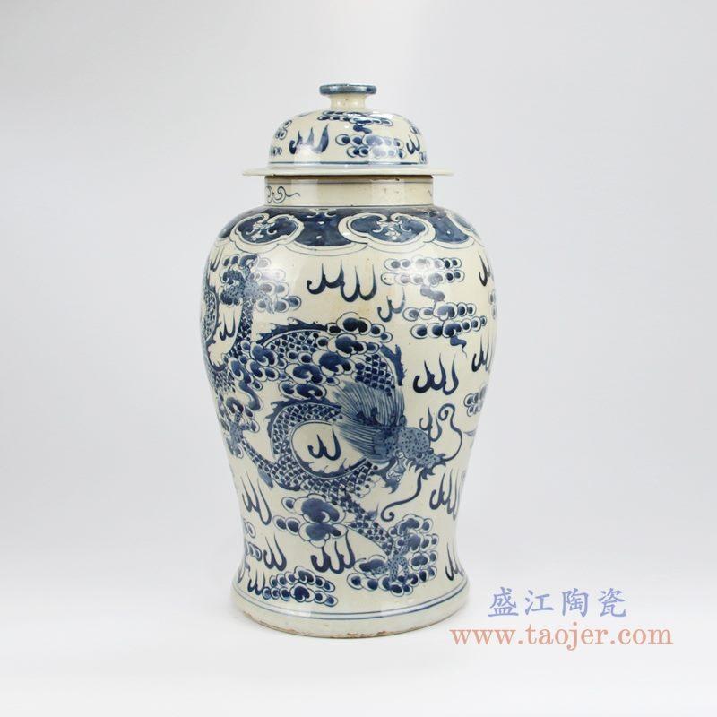 RZKT24-F 手绘青花火焰纹凤凰将军罐 侧面图