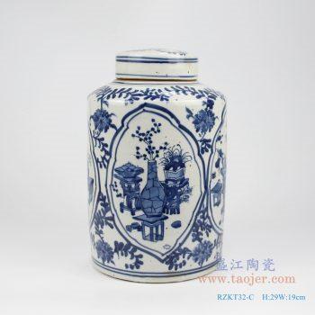 RZKT32-C 仿古 手绘青花开光博古图带盖直身茶叶罐 带盖罐子
