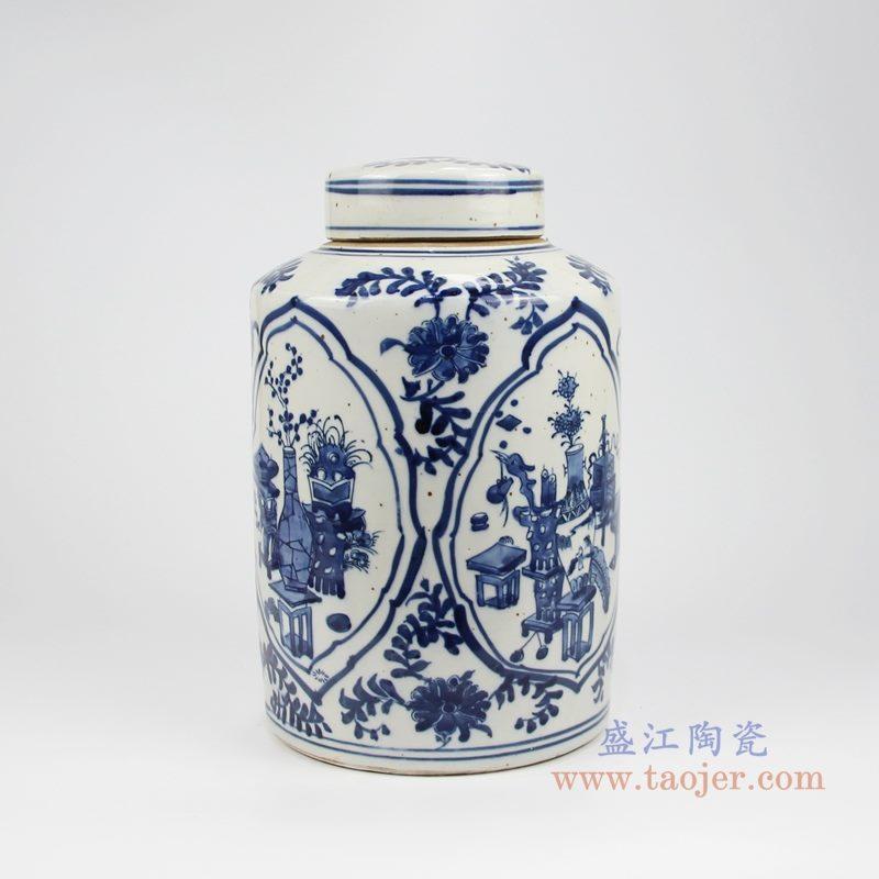 RZKT32-C手绘青花开光博古图直身茶叶罐 侧面图