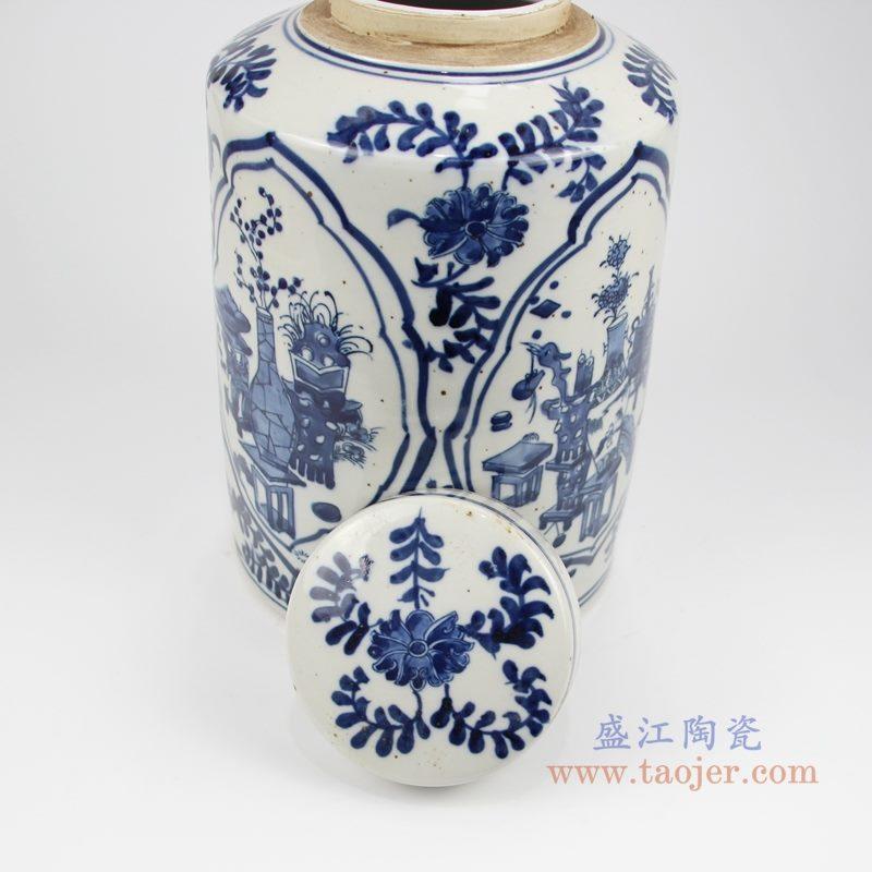 RZKT32-C手绘青花开光博古图直身茶叶罐 盖子图