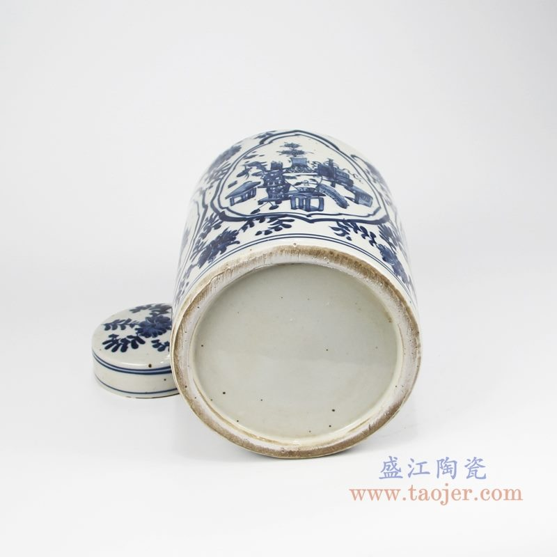 RZKT32-C手绘青花开光博古图直身茶叶罐 底部图