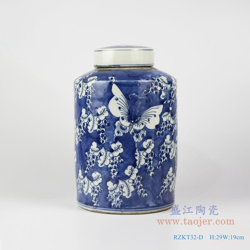 RZKT32-D 仿古 手绘青花蓝底冰梅蝴蝶图茶叶罐 正面图