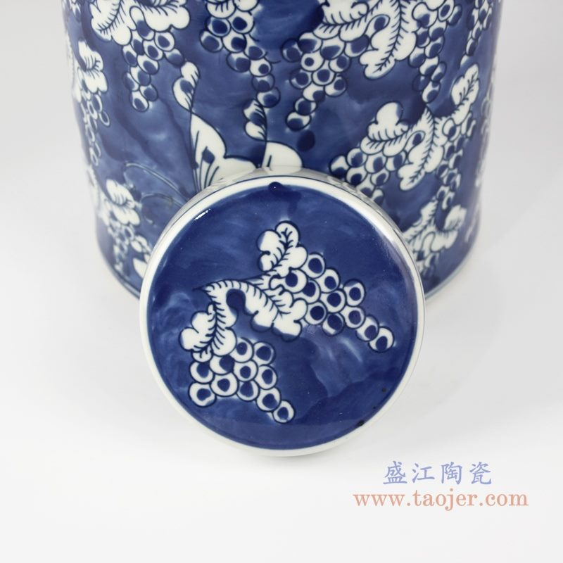 RZKT32-D 仿古 手绘青花蓝底冰梅蝴蝶图茶叶罐 盖子图