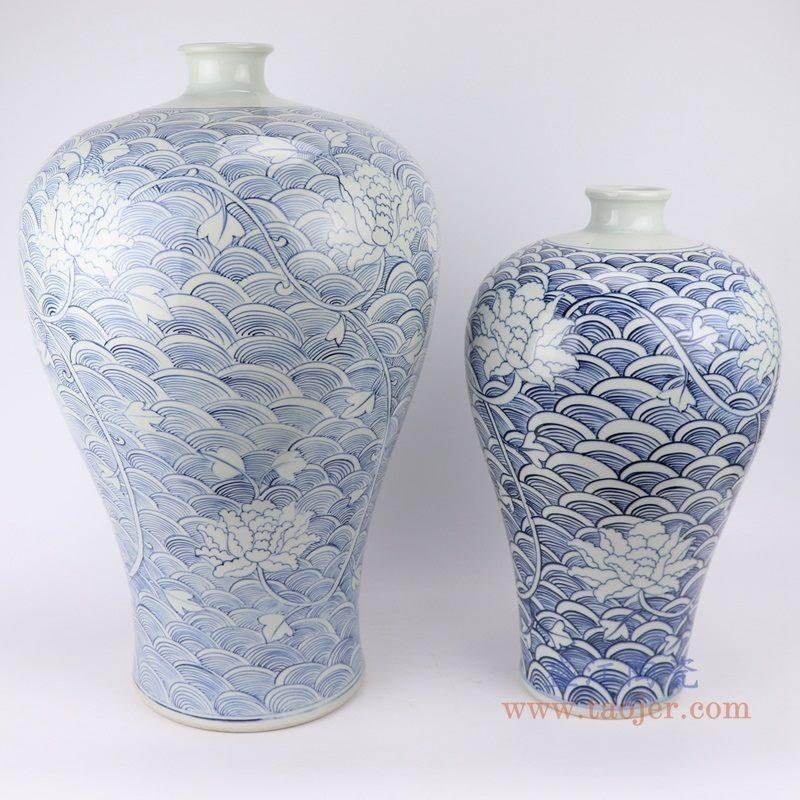 RZKY19 仿古青花 手绘海水纹花卉梅瓶大小号组合图