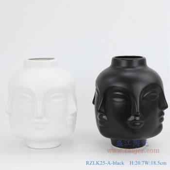 RZLK25-A-black 北欧缪斯哑光黑色陶瓷六面人脸花瓶  微笑的朵拉