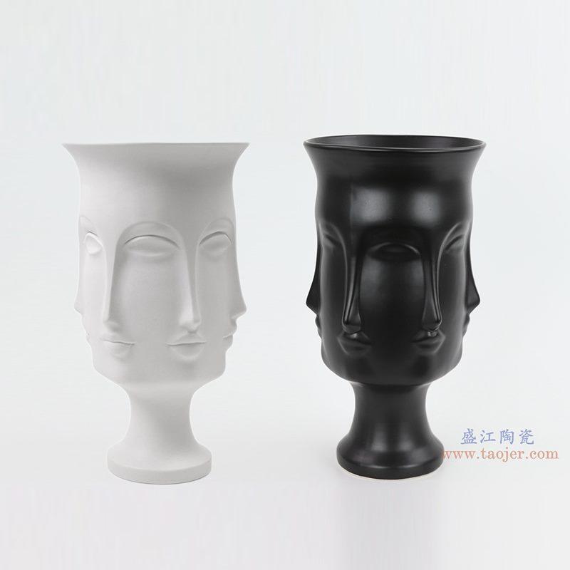 上图:RZLK25-B 北欧缪斯亚光黑色白色组合陶瓷人脸花瓶 优雅的朵拉 购买请点击图片