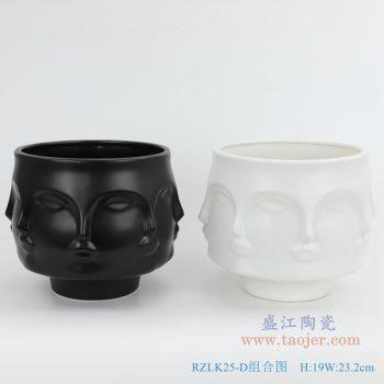 RZLK25-D-black 北欧缪斯哑光黑色陶瓷八面人脸花瓶 纯洁的玛丽