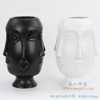 RZLK25-G-black 北欧缪斯哑光黑色陶瓷六面人脸花瓶俏皮的伊迪