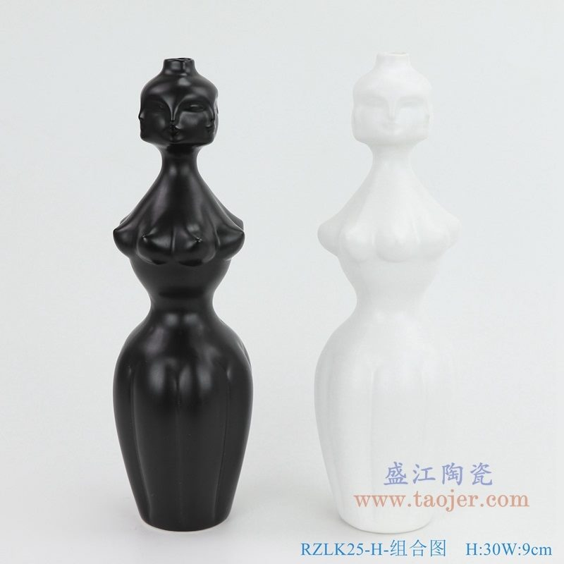 上图:RZLK25-H-组合图 北欧缪斯哑光黑色白色组合陶瓷人脸花瓶 妖娆的伊迪 购买请点击图片