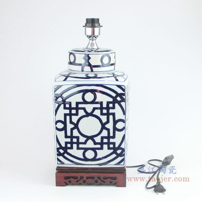 上图:青花四方铜钱纹回子纹茶叶罐陶瓷灯具正面图片  购买请点击图片