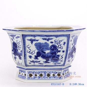 RYLU167-B-仿古手绘青花八角八面八边形狮子纹花盆