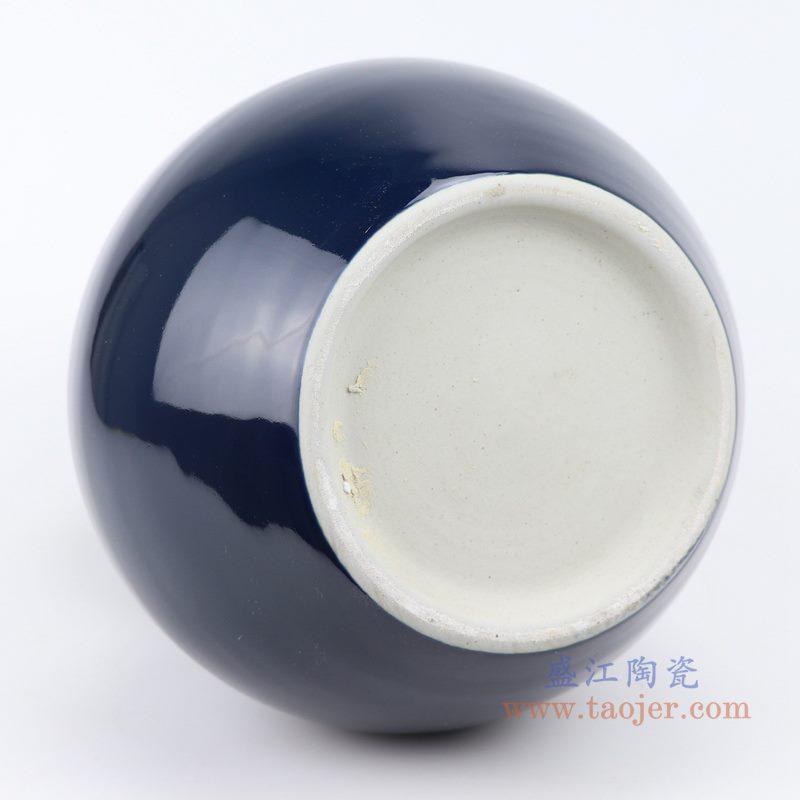 上图:深蓝祭蓝颜色釉陶瓷葫芦瓶花瓶底部图 购买请点击图片