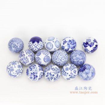 RYPU23-D8-组合-青花花卉纹陶瓷球装饰球圆浮球大中小号各种尺寸