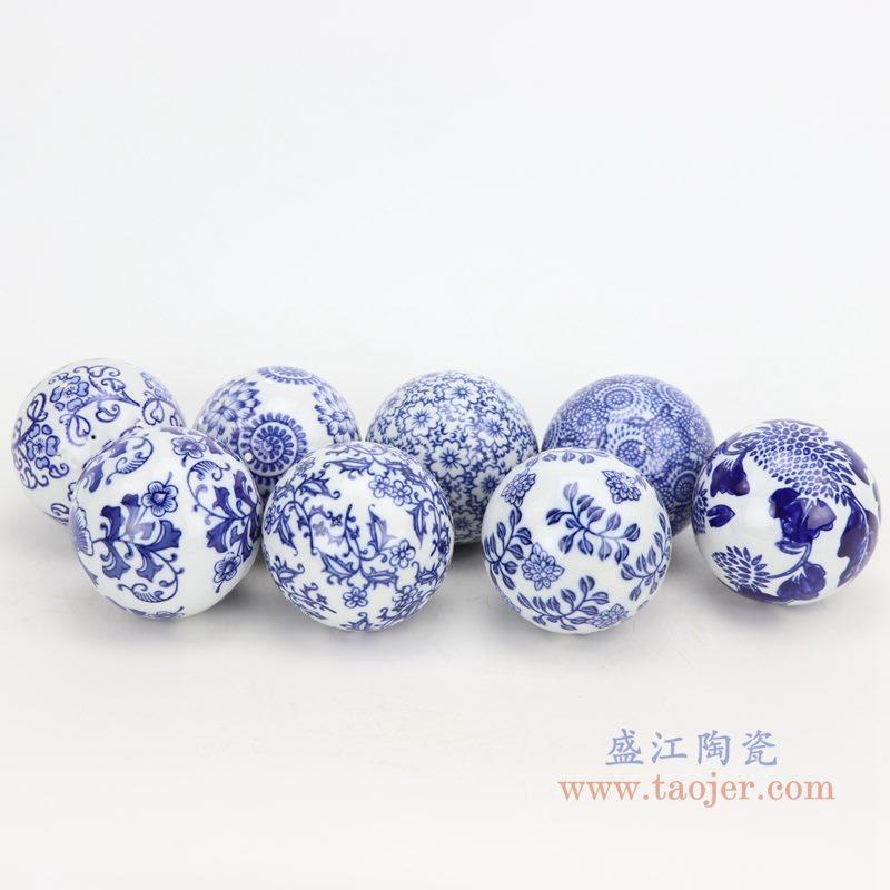 上图:青花花卉纹陶瓷球装饰球圆浮球 组合图 购买请点击图片