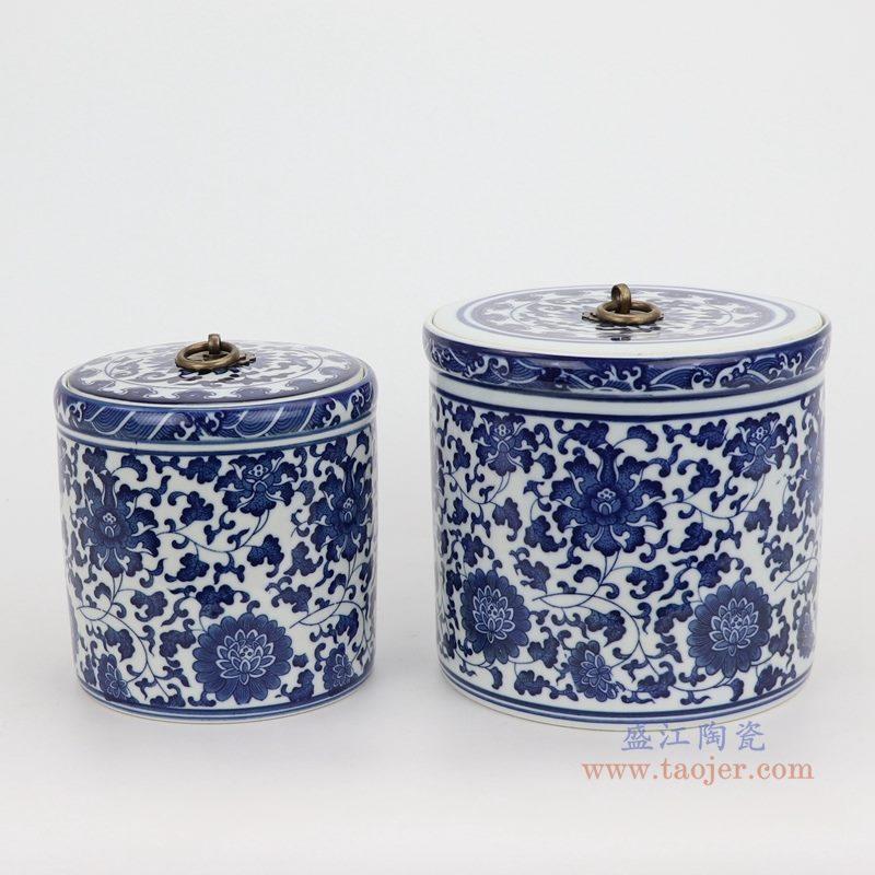 上图:青花缠枝莲纹带铜环盖子圆直筒茶叶罐子组合图 购买请点击图片