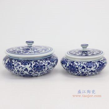 RZNV08-a-sma-青花缠枝莲纹带盖圆扁肚茶叶罐子小号