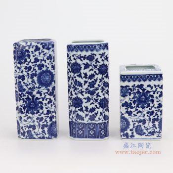 RZNV10-12 青花缠枝莲纹四方形直筒白如意口笔筒小花瓶