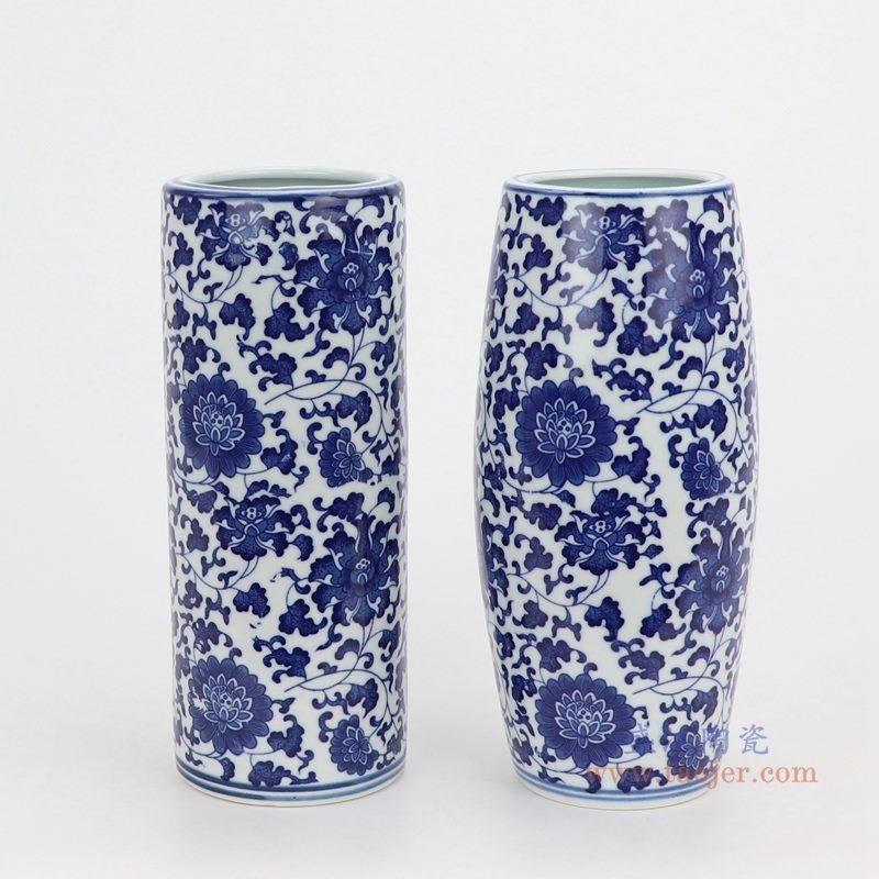 上图:青花缠枝莲纹圆形直筒青花圆口笔筒小花瓶组合图  购买请点击图片