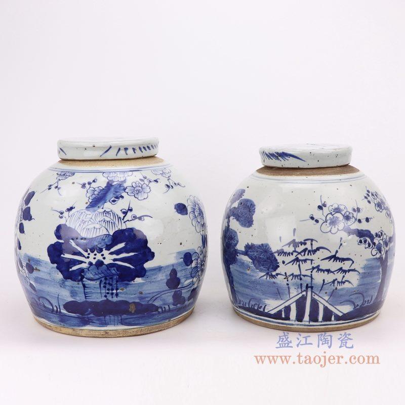 上图:仿古做旧青花荷花松竹梅眀罐储物茶叶罐子组合图   购买请点击图片