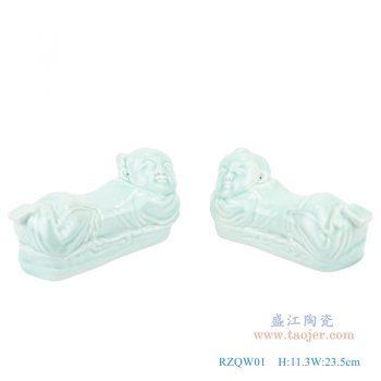 RZQW01-影青金童玉女陶瓷枕男孩女孩卧姿雕塑瓷枕