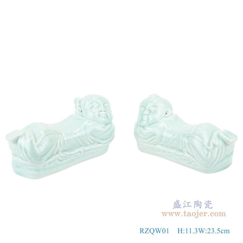 上图:影青金童玉女陶瓷枕男孩女孩卧姿雕塑瓷枕   购买请点击图片