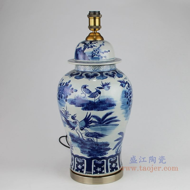上图 手绘青花花鸟陶瓷将军罐灯具背面图片 购买请点击图